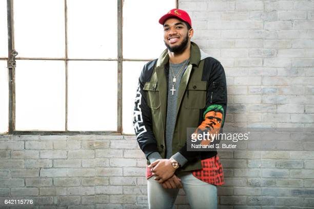 KarlAnthony Towns of the Minnesota Timberwolves poses for a photo during the 2017 AllStar Media Circuit at the Ritz Carlton in New Orleans LA NOTE TO...