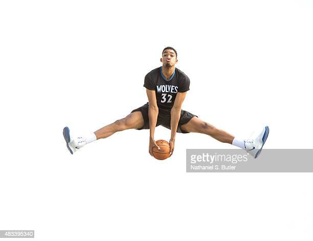 KarlAnthony Towns of the Minnesota Timberwolves poses for a portrait during the 2015 NBA rookie photo shoot on August 8 2015 at the Madison Square...