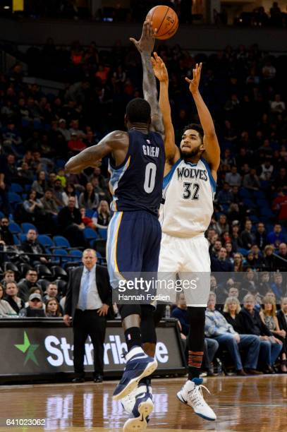 KarlAnthony Towns of the Minnesota Timberwolves shoots the ball against JaMychal Green of the Memphis Grizzlies during the game on February 4 2017 at...