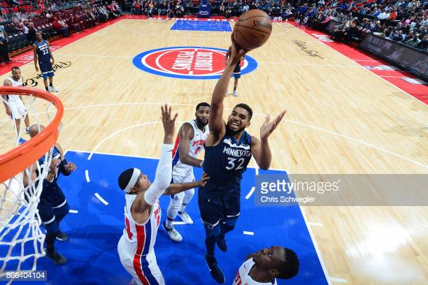 KarlAnthony Towns of the Minnesota Timberwolves shoots the ballz against the Detroit Pistons on October 25 2017 at Little Caesars Arena in Detroit...