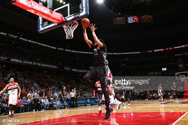 KarlAnthony Towns of the Minnesota Timberwolves shoots the game winning shot against the Washington Wizards on March 25 2016 at Verizon Center in...