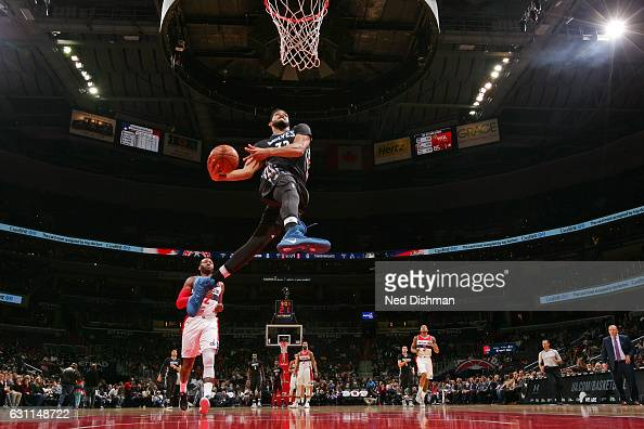 KarlAnthony Towns of the Minnesota Timberwolves throws down a windmill dunk during the game against the Washington Wizards on January 6 2017 at...