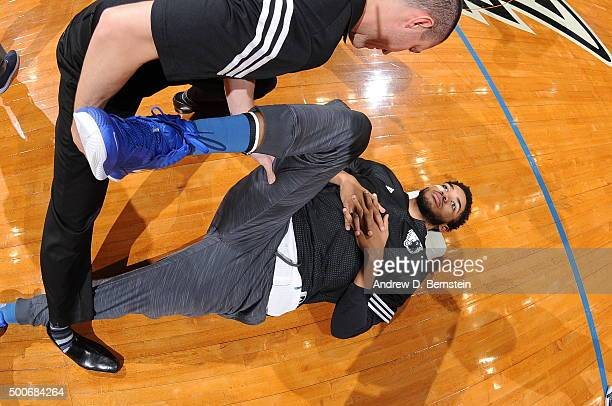 KarlAnthony Towns of the Minnesota Timberwolves warms up before the game against the Los Angeles Lakers on December 9 2015 at Target Center in...