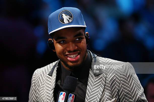 KarlAnthony Towns speaks to the media after being drafted first overall by the Minnesota Timberwolves in the First Round of the 2015 NBA Draft at the...