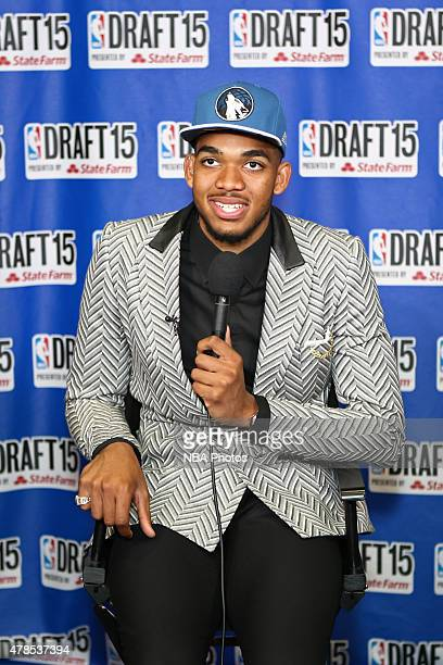 KarlAnthony Towns the pick of the Minnesota Timberwolves talks to the media during the 2015 NBA Draft on June 25 2015 at Barclays Center in Brooklyn...