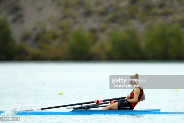 Karley WildenPalms of North End competes in the Womans club single sculls final during the South Island Club Championships at Lake Ruataniwha on...
