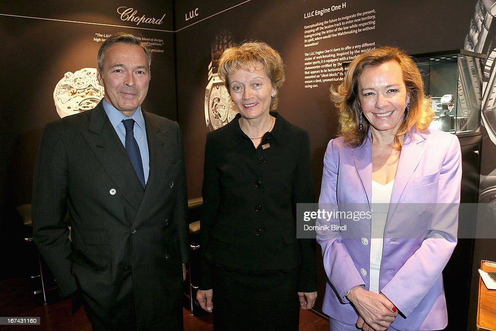 Karl-Friedrich Scheufele, Eveline Widmer-Schlumpf and Caroline Scheufele attend the 'Baselworld 2013' at Baselworld on April 25, 2013 in Basel, Switzerland.