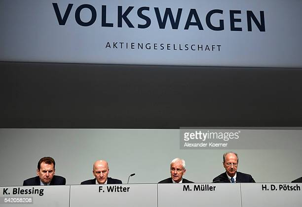 Karlheinz Blessing Frank Witter Michael Mueller head of German automaker Volkswagen AG and Hans Dieter Poetsch arrive for the annual Volkswagen...