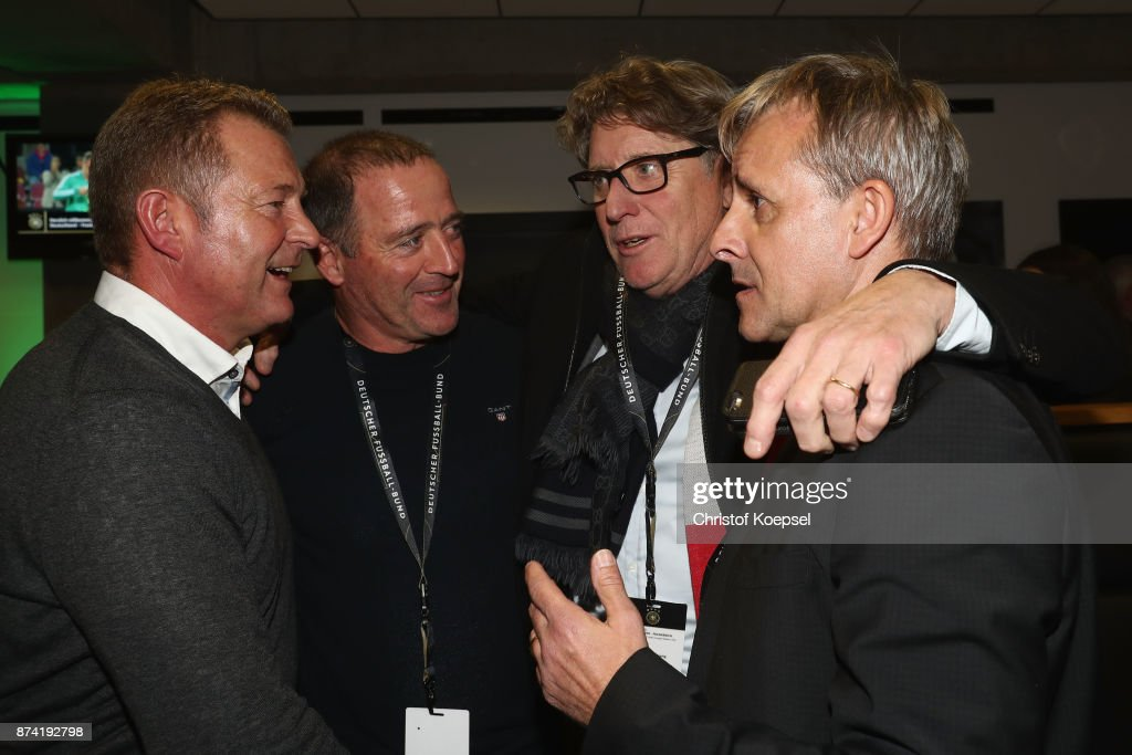 Karlheinz Foerster, Uwe Bein, Toni Schumacher and Pierre Littbarski talk during the Club Of Former National Players Meeting at RheinEnergieStadion on November 14, 2017 in Cologne, Germany.