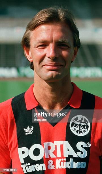 Karlheinz Koerbel of Frankfurt poses during the photo call and team presentation of Eintracht Frankfurt on July 01 1985 in Frankfurt Germany