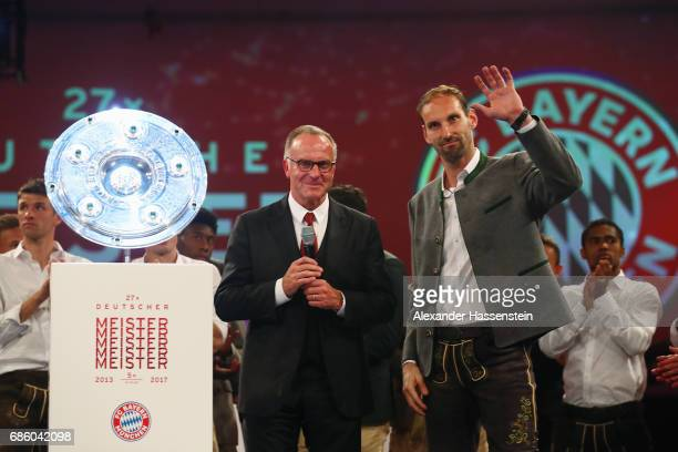 KarlHeinz Rummenigge and goalkeeper Tom Starke attend the FC Bayern Muenchen Championship party following the Bundesliga match between Bayern...