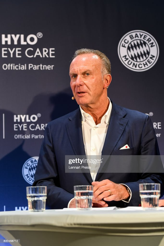 Karl-Heinz Rummenigge, CEO of FC Bayern Muenchen AG, addresses the media during the presentation of the new partnership of FC Bayern Muenchen and HYLO Eye Care on August 16, 2017 in Munich, Germany.