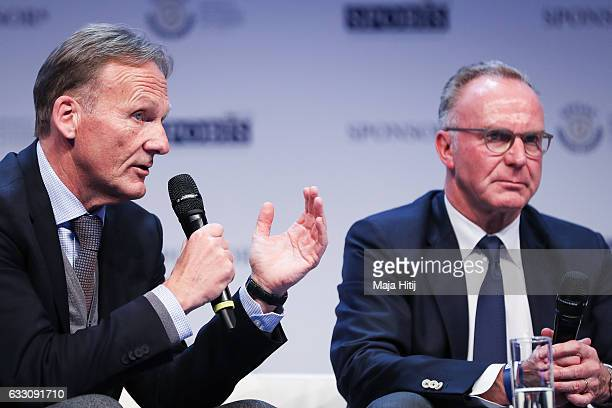 KarlHeinz Rummenigge CEO of FC Bayern Muenchen and HansJoachim Watzke CEO of Borussia Dortmund attend SpoBis 2017 on January 30 2017 in Duesseldorf...