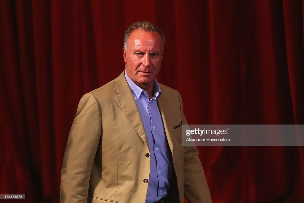 Karl-Heinz Rummenigge, CEO of FC Bayern Muenchen arrives for a press conference at Centro Congressi on July 9, 2013 in Riva del Garda, Italy.
