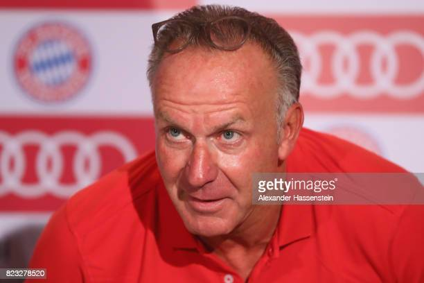 KarlHeinz Rummenigge CEO of FC Bayern Muenchen attends a press conference at JW Marriott Singapore South Beach Hotel during the Audi Summer Tour 2017...