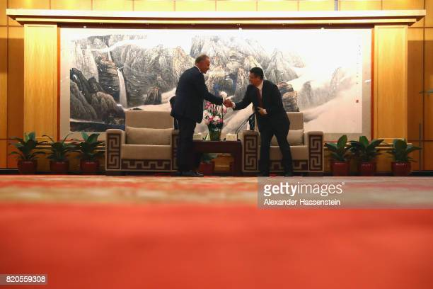 KarlHeinz Rummenigge CEO of FC Bayern Muenchen attends a reception of Zhang Hu the executive vice mayor of Shenzhen at Wuzhou Guest House Shenzen...