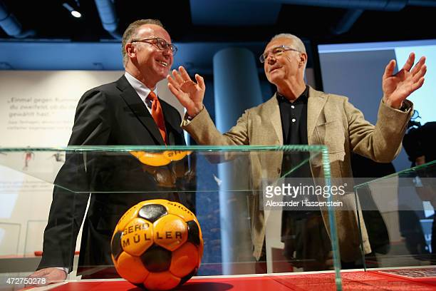 KarlHeinz Rummenigge CEO of FC Bayern Muenchen attends with Franz Beckenbauer Honorary President of FC Bayern Muenchen the opening of the special...