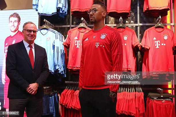 KarlHeinz Rummenigge CEO of FC Bayern Muenchen attends with his player Jerome Boateng the opening of the new fanshop at Bayern Muenchen's trainings...