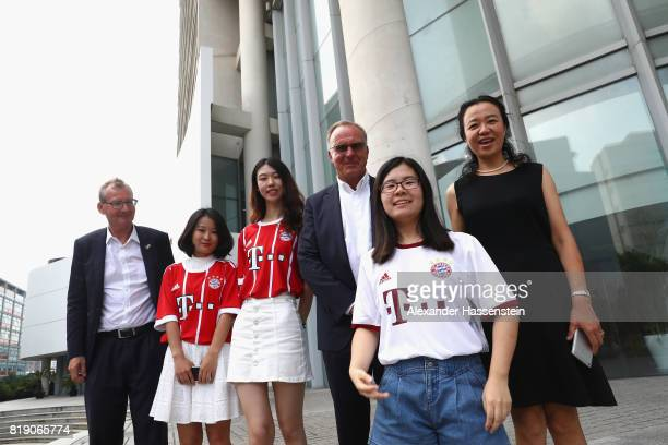 KarlHeinz Rummenigge CEO of FC Bayern Muenchen meets Professor Wu Jiang executive vice president of the Tongji Universiity Shanghai at Tongji...
