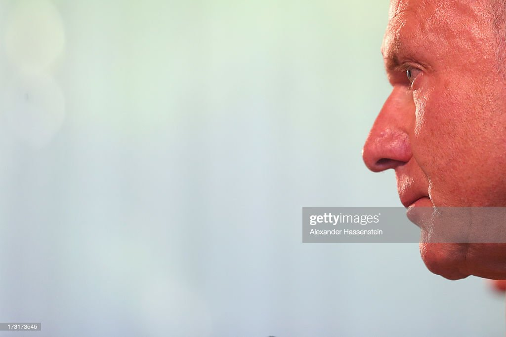 <a gi-track='captionPersonalityLinkClicked' href=/galleries/search?phrase=Karl-Heinz+Rummenigge&family=editorial&specificpeople=634867 ng-click='$event.stopPropagation()'>Karl-Heinz Rummenigge</a>, CEO of FC Bayern Muenchen talks to the media during a press conference at Centro Congressi on July 9, 2013 in Riva del Garda, Italy.