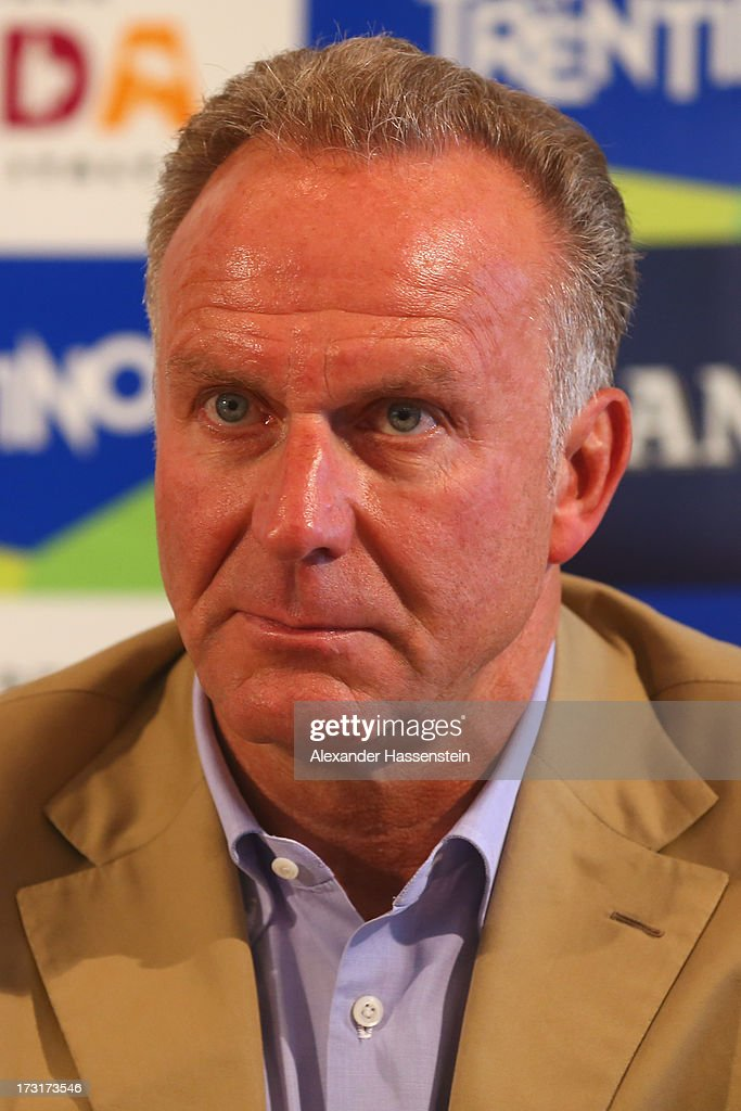 Karl-Heinz Rummenigge, CEO of FC Bayern Muenchen talks to the media during a press conference at Centro Congressi on July 9, 2013 in Riva del Garda, Italy.