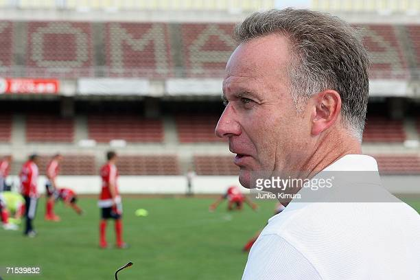 KarlHeinz Rummenigge CEO of FC Bayern Munich watches players on their Japan tour on July 30 2006 in Urasa Saitama Prefecture Japan Bayern Munich will...