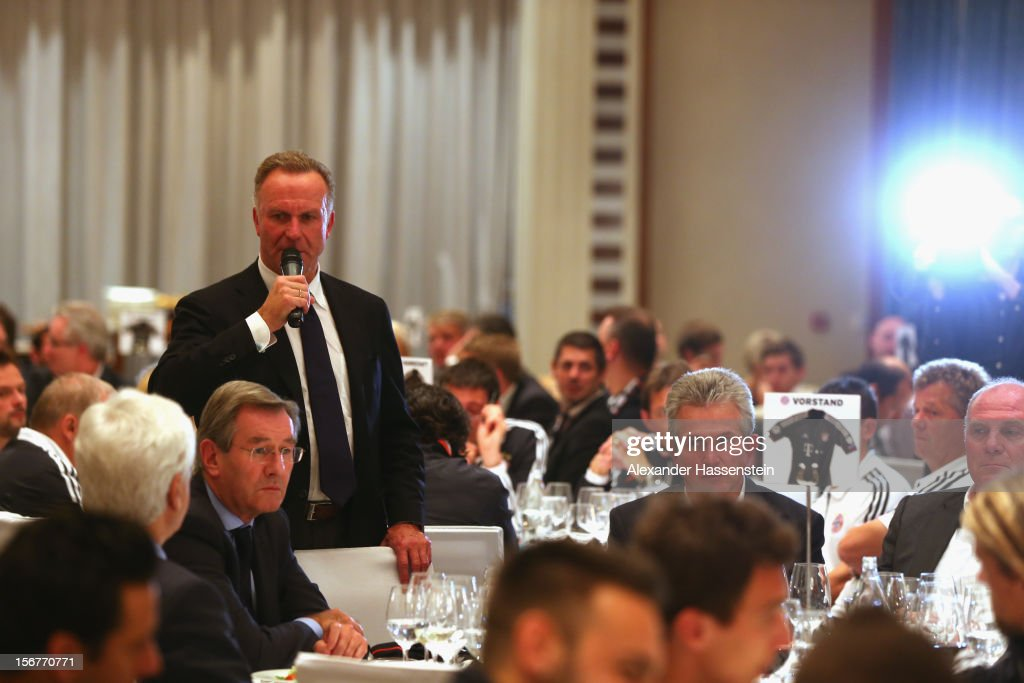 Karl-Heinz Rummenigge, CEO of Muenchen takes a speech at the Champions Dinner night at The Westin Hotel after the UEFA Champions League group F match between Valencia FC and FC Bayern Muenchen at Estadio Mestalla on November 20, 2012 in Valencia, Spain.