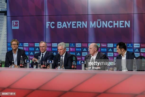 KarlHeinz Rummenigge of Bayern Muenchen New head coach Jupp Heynckes of Bayern Muenchen Uli Hoeness of Bayern Muenchen and Hasan Salihamidzic of...
