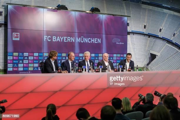 KarlHeinz Rummenigge of Bayern Muenchen New head coach Jupp Heynckes of Bayern Muenchen Uli Hoeness of Bayern Muenchen Hasan Salihamidzic of Bayern...