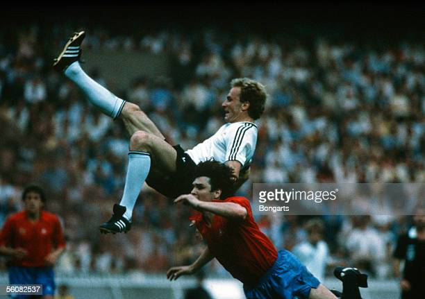 KarlHeinz Rummenigge of Germany in action during the European Championship group 2 match between Germany and Spain on June 20 1984 in Paris France