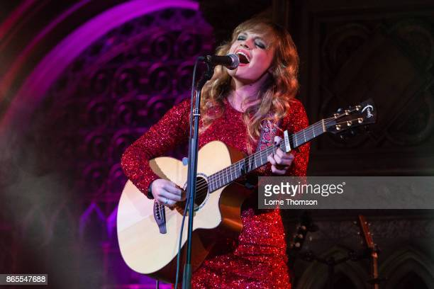Karli Chayne of Cross Atlantic performs live on stage at the Union Chapel on October 23 2017 in London England