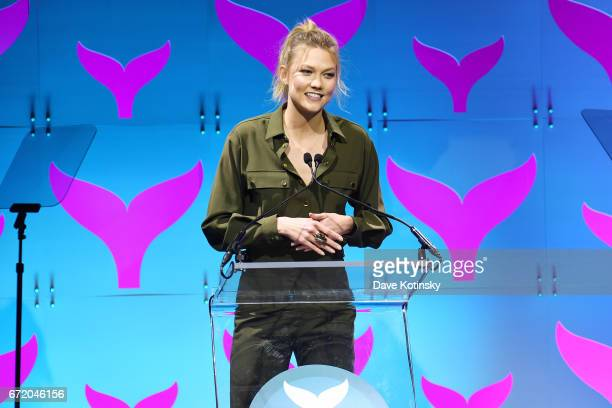 Karlie Kloss accepts an award on stage at the The 9th Annual Shorty Awards on April 23 2017 in New York City