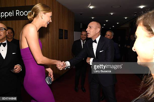 Karlie Kloss and Matt Lauer attend 2016 Time 100 Gala Time's Most Influential People In The World Cocktails at Jazz At Lincoln Center at the Times...