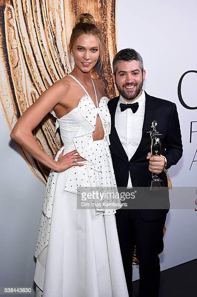Karlie Kloss and Swarovski Award for Womenswear winner Brandon Maxwell attend the 2016 CFDA Fashion Awards at the Hammerstein Ballroom on June 6 2016...