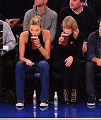 Karlie Kloss and Taylor Swift attend the Chicago Bulls vs New York Knicks game at Madison Square Garden on October 29 2014 in New York City