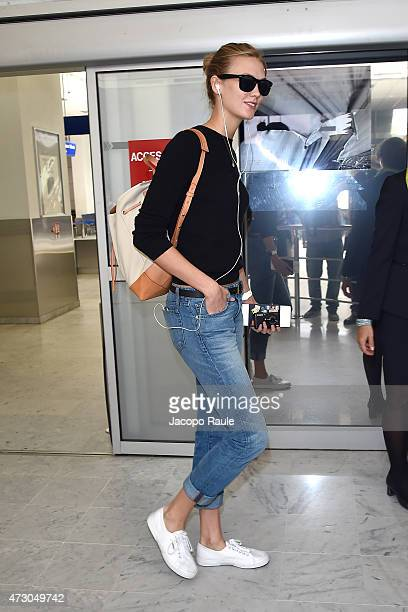 Karlie Kloss arrives at Nice Airport during the 68th annual Cannes Film Festival on May 12 2015 in Cannes France