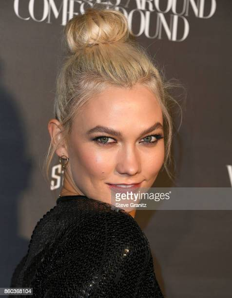 Karlie Kloss arrives at the What Goes Around Comes Around One Year Anniversary at What Goes Around Comes Around on October 11 2017 in Beverly Hills...
