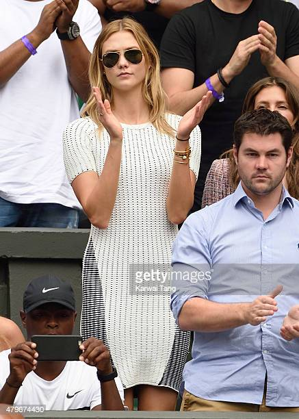 Karlie Kloss attends day seven of the Wimbledon Tennis Championships at Wimbledon on July 6 2015 in London England