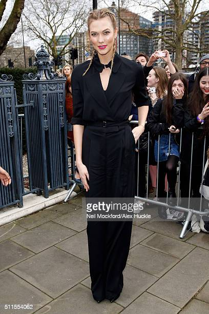 Karlie Kloss attends the A/W 16 Topshop Unique Catwalk Show at the Tate Britain on February 21 2016 in London England