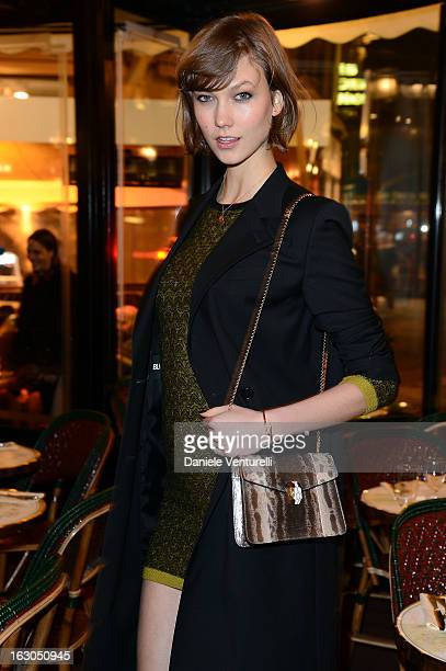 Karlie Kloss attends the Bulgari And Purple Magazine Party at Cafe de Flore on March 3 2013 in Paris France