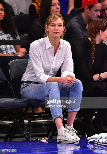 Karlie Kloss attends the Cleveland Cavaliers vs New York Knicks game at Madison Square Garden on March 26 2016 in New York City
