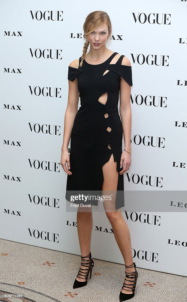 <a gi-track='captionPersonalityLinkClicked' href=/galleries/search?phrase=Karlie+Kloss&family=editorial&specificpeople=5555876 ng-click='$event.stopPropagation()'>Karlie Kloss</a> attends the opening of Vogue100 : A century of Style at National Portrait Gallery on February 9, 2016 in London, England.