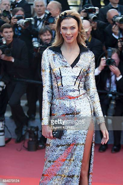 Karlie Kloss attends the screening of the film 'Julieta' at the annual 69th Cannes Film Festival at the Palais des Festivals on May 17 2016 in Cannes...