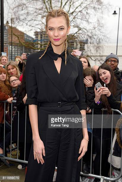 Karlie Kloss attends the Topshop Unique show during London Fashion Week Autumn/Winter 2016/17 at Tate Britain on February 21 2016 in London England