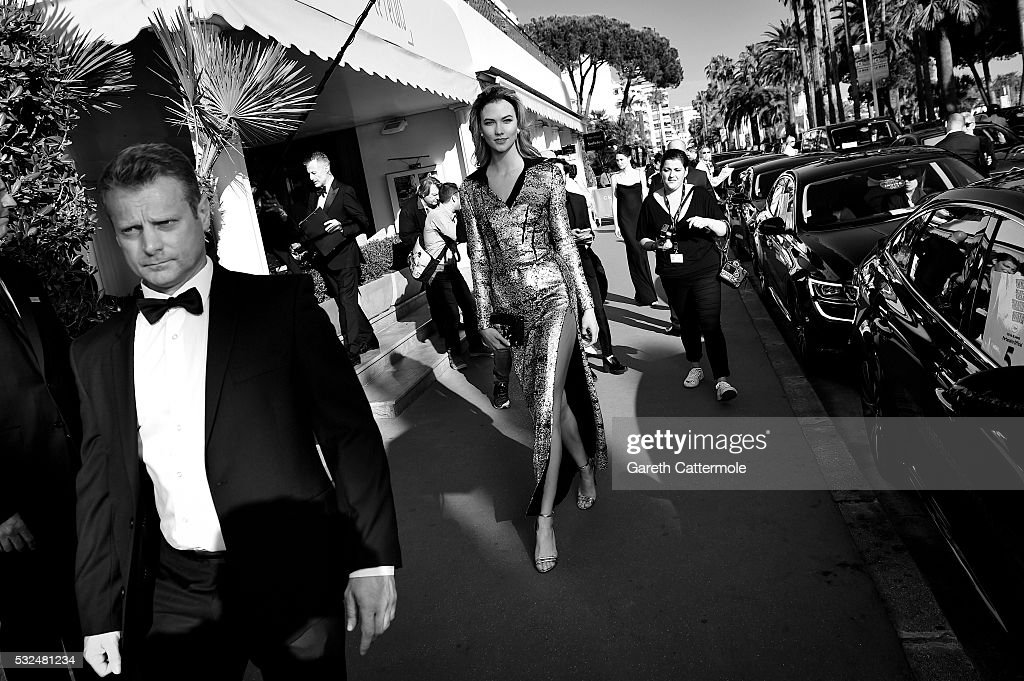 Karlie Kloss departs the Martinez Hotel during the 69th annual Cannes Film Festival on May 17 2016 in Cannes France