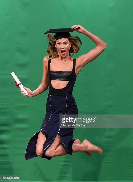 Karlie Kloss during the Midair Modeling segment on 'The Tonight Show Starring Jimmy Fallon'at NBC Studios on May 26 2016 in New York City
