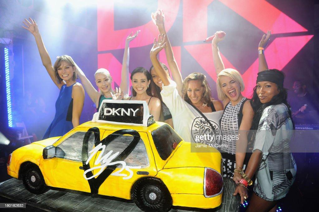 Karlie Kloss Iggy Azalea Emmy Rossum Joan Smalls designer Donna Karen Rita Ora and Melanie Fiona attend the #DKNY25 Birthday Bash on September 9 2013...