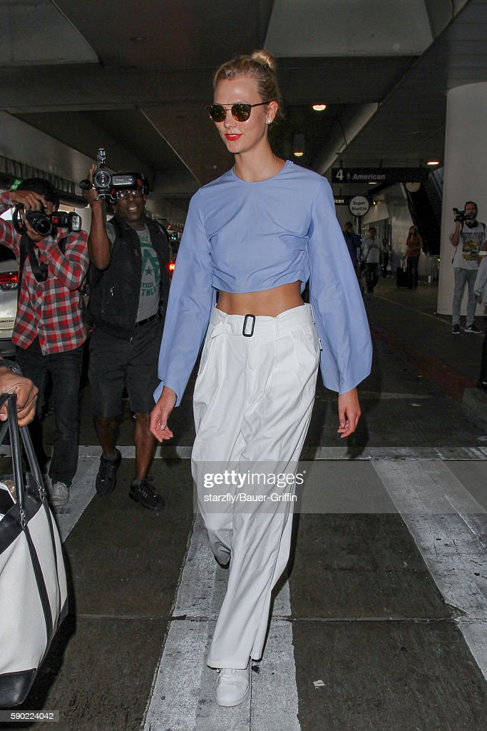 Karlie Kloss is seen at LAX on August 16 2016 in Los Angeles California