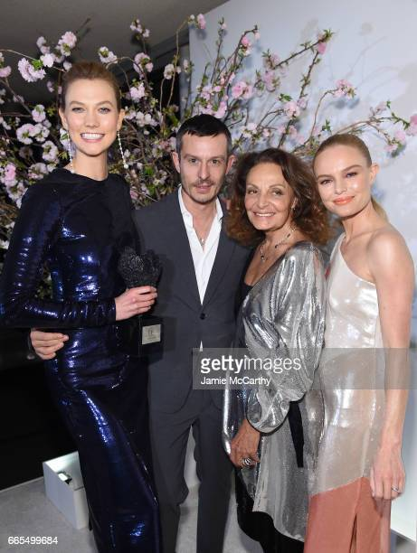 Karlie Kloss Jonathan Saunders Diane von Furstenberg and Kate Bosworth attend the 2017 DVF Awards at United Nations Headquarters on April 6 2017 in...