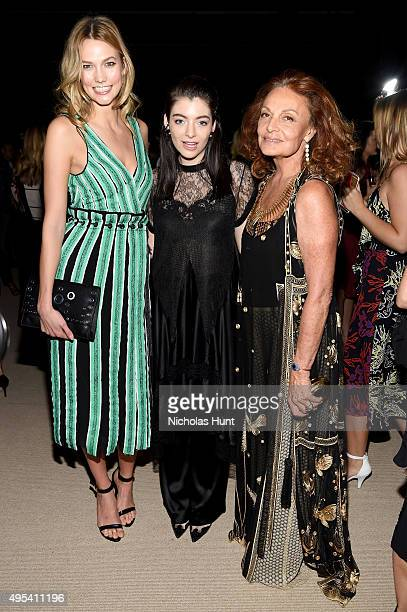 Karlie Kloss Lorde and Diane von Furstenberg attend the 12th annual CFDA/Vogue Fashion Fund Awards at Spring Studios on November 2 2015 in New York...